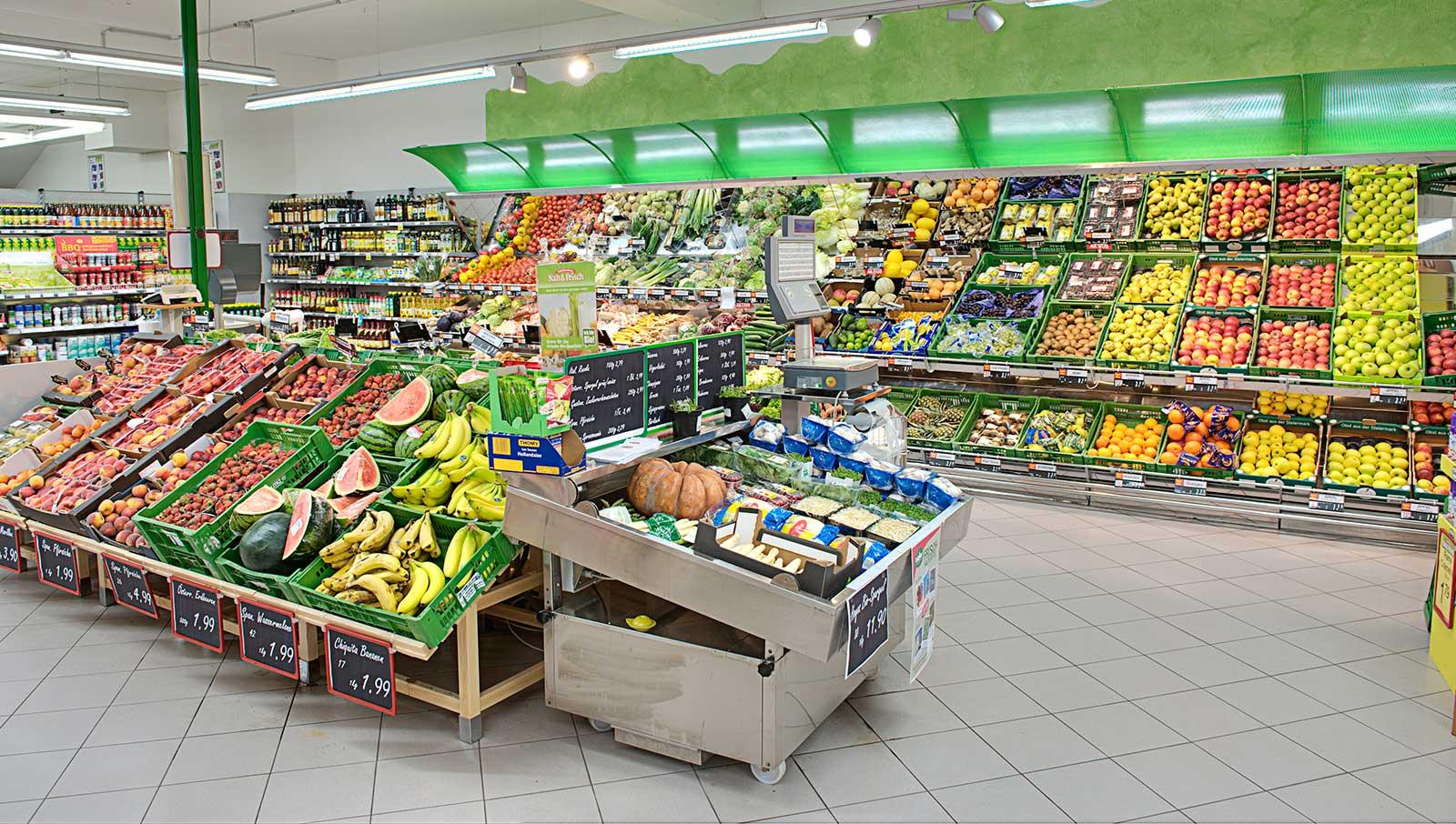 Die Obst- und Gemüseabteilung mit frischer Bioware aus der Region. © Reinhard Podolsky/mediadesign